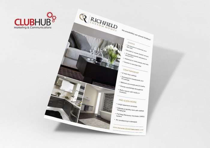 Club Hub Marketing & Communications - Flyer - Richfield Custom Homes